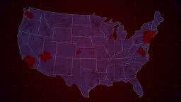 Map Contagion USA. The epidemic of the virus spreads throughout the United States.