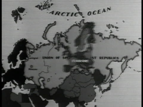 map demonstrating size of united soviet socialist republic placing europe usa canada land masses into borders. - 1935 stock videos & royalty-free footage
