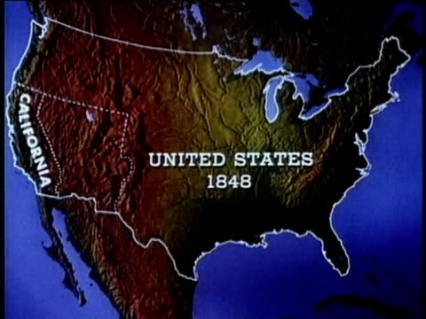 1965 animation map depicting migration to california in 1848, usa, audio - kalifornien stock-videos und b-roll-filmmaterial