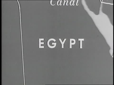 vídeos de stock e filmes b-roll de a map displays the middle east - 1958