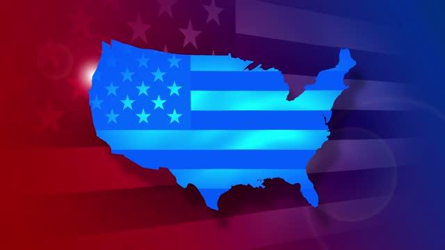 米国の地図、旗、米国大統領選挙のストックビデオ。米国および米国旗で投票。 - election点の映像素材/bロール