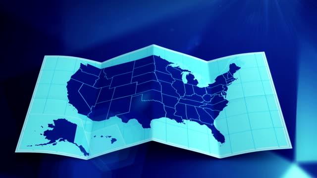 vídeos y material grabado en eventos de stock de estados unidos mapa se despliega y se convierte en azul.  tres en uno. - mapa