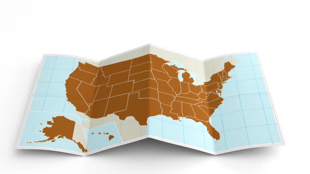 stockvideo's en b-roll-footage met usa map folds out on white. three in one. - verenigde staten