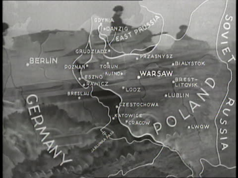 vídeos de stock, filmes e b-roll de a map illustrates the german invasion of poland while airplanes tanks and cannons fire - polônia