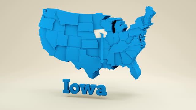 vídeos de stock e filmes b-roll de usa map, iowa state. - estátua de atlas