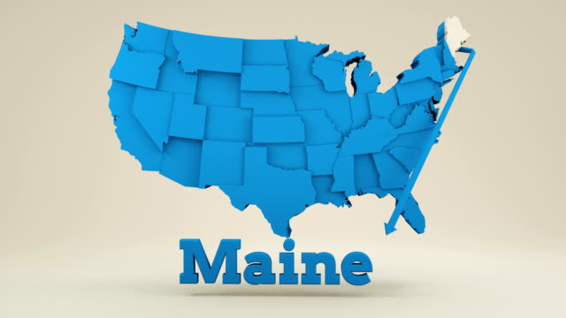 usa map, maine state. - augusta maine stock videos & royalty-free footage