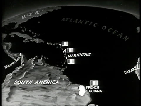 vidéos et rushes de map map northern south america w/ french colonies of martinique french guiana highlighted animated arrow moving from dakar to guiana only 2100 miles - carte dom tom