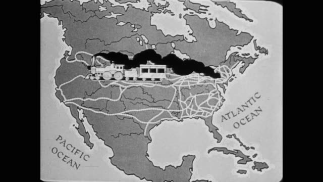 1945 a map of american train expansion - rail transportation stock videos and b-roll footage
