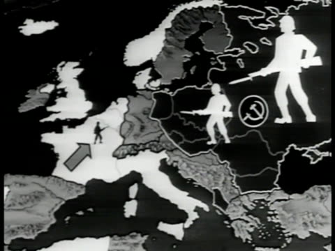 MAP Map of animated Russian/Soviet Union strength Ally power in Europe