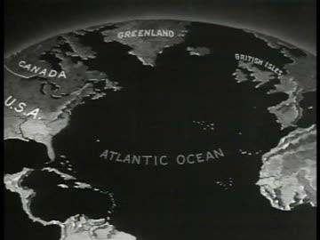 vídeos de stock, filmes e b-roll de map of atlantic ocean animated u.s. naval bases along eastern coast. - oceano atlântico