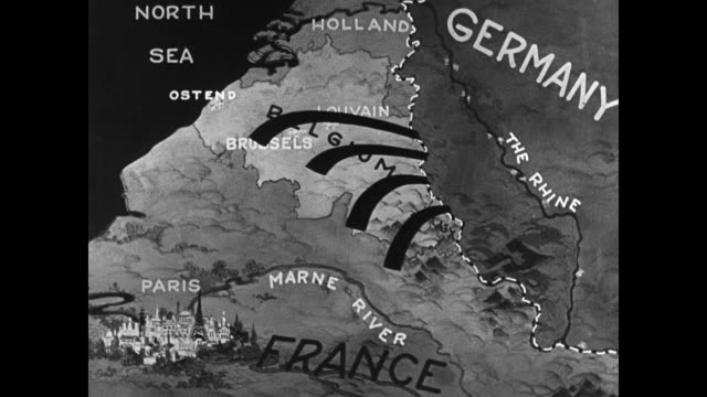 map of belgium w/ animation of german forces invading. world war i - 1914 stock videos & royalty-free footage