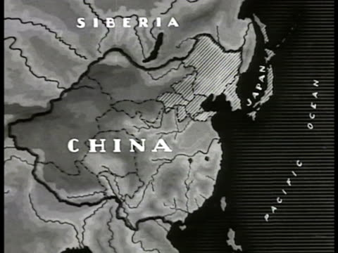 map map of china amp manchukuohighlighting possible annexing of china by japanese - 1935 stock-videos und b-roll-filmmaterial