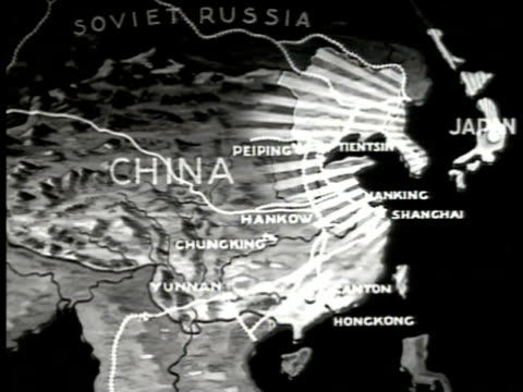 MAP Map of China animated Japanese invasion territories World War II