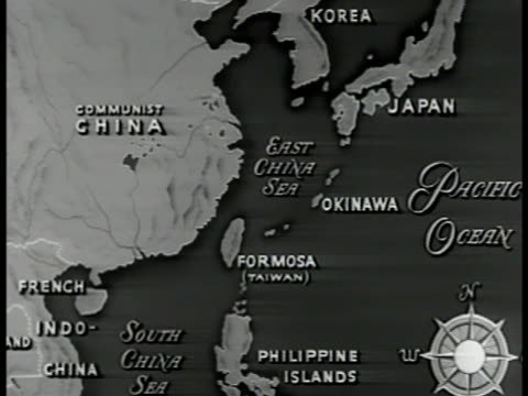 vídeos de stock, filmes e b-roll de map map of china coast surrounding islands slo zi on island of formosa vo states ''currently under us protection'' - taiwan