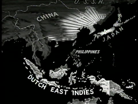 map map of dutch east indies netherlands east indies w/ dutch colonization area highlighted japanese positions highlighted east asia - 1940年点の映像素材/bロール