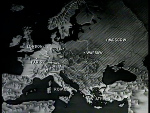 vídeos de stock e filmes b-roll de map map of europe shading area moscow hopes to blanket w/ ''communism'' zi italy - guerra fria