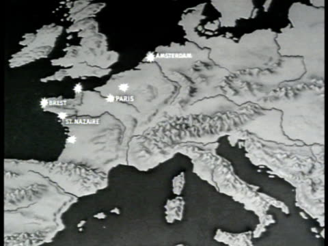 stockvideo's en b-roll-footage met map map of europe w/ bombing sites highlighted wwii sot vo hansen w baldwin saying 'invasion of europe has startedbombing alone will never win this... - 1943