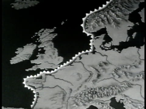 vídeos de stock, filmes e b-roll de map map of europe w/ coastline highlighted british ports of supply w/ arrows sot vo dewitt mckinsey saying attack on atlantic coast near ports to get... - 1943