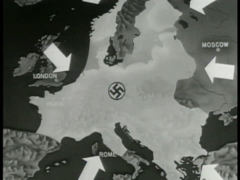 map map of europe w/ german nazi occupied territory highlighted animated arrows pushing in toward berlin - nazi swastika stock videos and b-roll footage