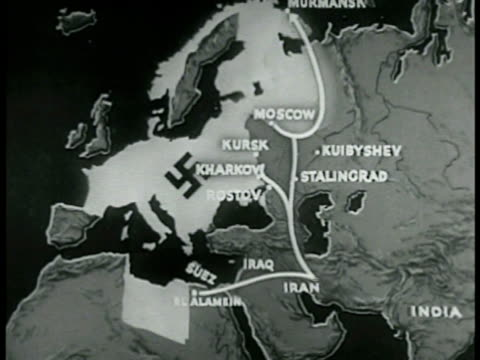 MAP Map of Europe w/ Nazi Occupied Territories highlighted animated arrows moving down into Asia Minor toward India Allied supply line Norway bases...