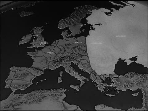 map of europe w/ soviet land highlighted, animated movement of soviet's 'police state' covering nine countries. british, french, italy flags,... - guerra fredda video stock e b–roll