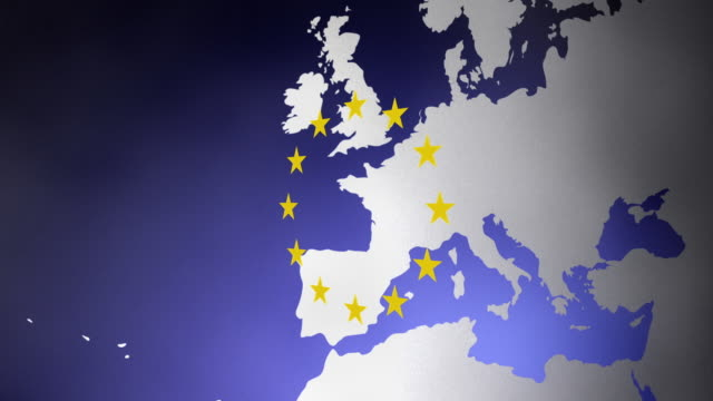 cgi map of europe with european flag stars - european union stock videos & royalty-free footage