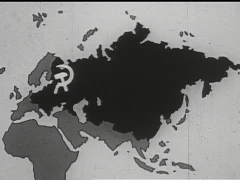 vídeos de stock e filmes b-roll de map of expanding soviet communist influence over eurasia. - anticomunismo
