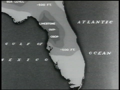 map map of florida showing central florida elevation limestone bed - 石灰岩点の映像素材/bロール