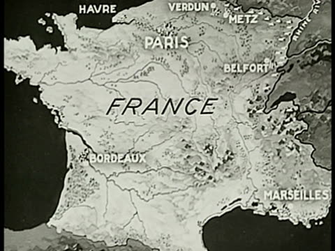 map map of france bordeaux paris belfort metz - anno 1938 video stock e b–roll