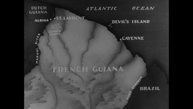 map of french guiana. coastal prison settlements of st. laurent & cayenne marked. devil's island. map of devil's island , royal island , st. joseph... - devil's island french guiana stock videos & royalty-free footage