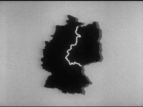 map of germany w/ animation highlighting iron curtain berlin - 1953 stock videos & royalty-free footage