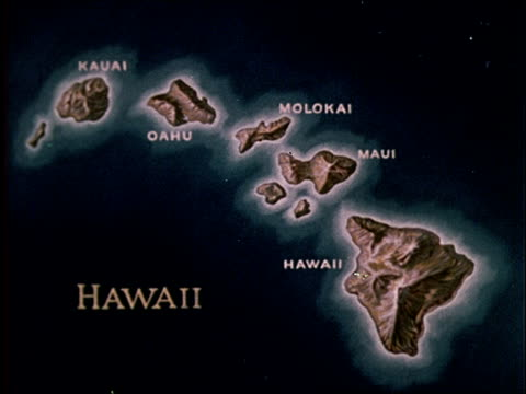 1959 map of hawaii - hawaii inselgruppe stock-videos und b-roll-filmmaterial
