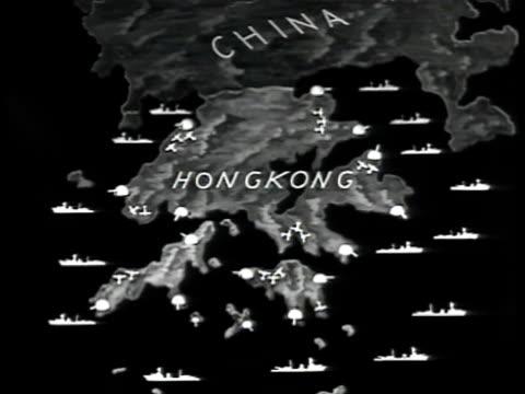 map map of hong kong hong kong ships in hong kong harbor w/ native people walking w/ baskets on poles fg submarine docked soldiers walking down busy... - 1941 stock videos & royalty-free footage