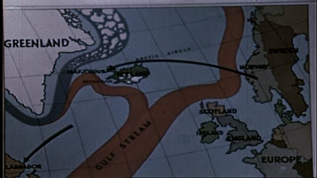 vidéos et rushes de 1950 - map of iceland and surrounding area - hémisphère nord