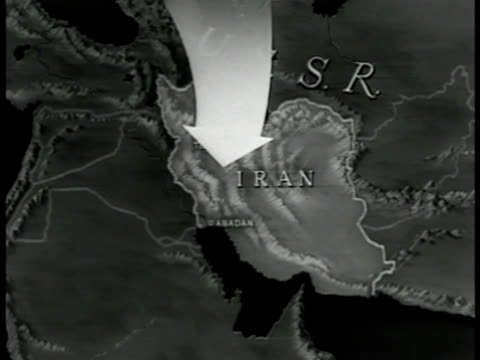 map map of iran highlighted arrow showing ussr russia place for possible infiltration invasion more arrows through turkey the mediterranean iraq... - 1951年点の映像素材/bロール