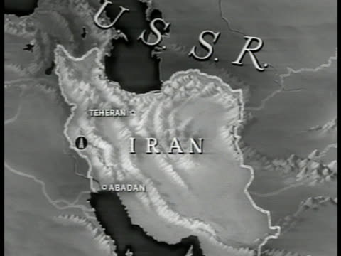 map map of iran w/ teheran abadan highlighted oil wells marked - 1951年点の映像素材/bロール
