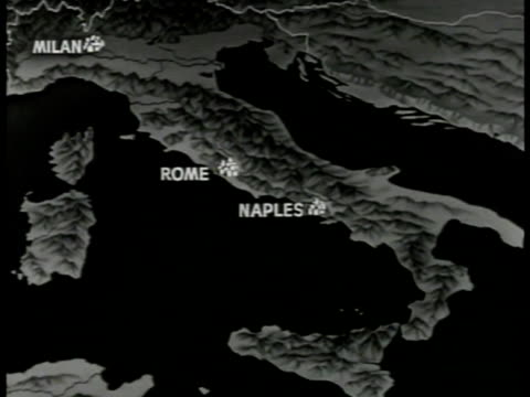 map of italy rome naples animation of north italy & nazi swastika sign. - nazi swastika stock videos & royalty-free footage