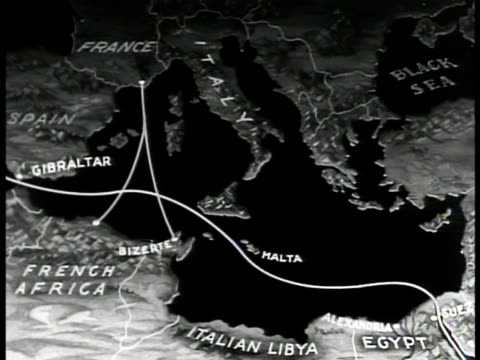 map map of mediterranean sea animated traffic lanes from france to bizerte english fleets in gibraltar straits - straits stock-videos und b-roll-filmmaterial