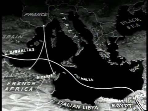 map map of mediterranean sea animated traffic lanes from france to bizerte english fleets in gibraltar straits - gibraltar bildbanksvideor och videomaterial från bakom kulisserna