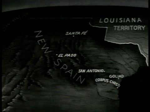 map map of mexico 'new spain santa fe el paso san antonio corpus christ goliad' - corpus christi texas stock videos & royalty-free footage
