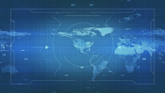 map of military surveillance display and national security, technology and army communications stock video loopable - terrorism stock videos & royalty-free footage