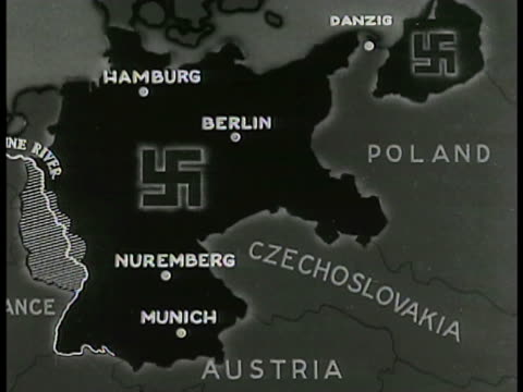 map map of nazi germany rule highlighted in black - nazi swastika stock videos and b-roll footage