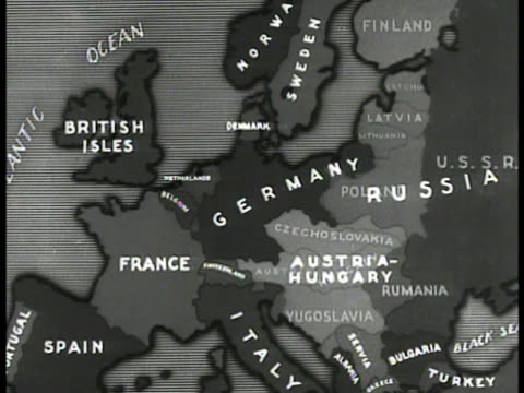 stockvideo's en b-roll-footage met map map of new nations carved out of germany / austriahungary borders after wwi treaty of versailles - 1938