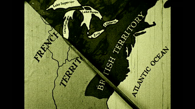 """map of north american wiping out french territory and only showing english and spanish territory; title card: """"and thus the point that was wolfe, the... - colonial stock videos & royalty-free footage"""