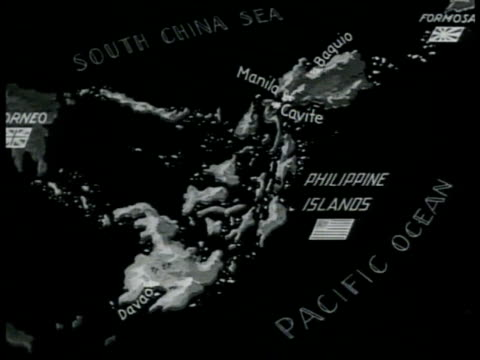 map map of philippine islands w/ us flag - south east asia stock videos & royalty-free footage