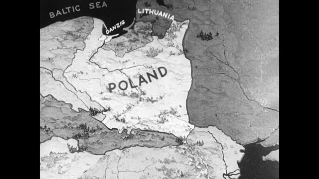 map map of poland showing bordering neighbors - poland stock videos & royalty-free footage