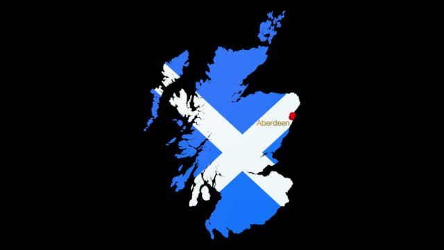 map of scotland with alpha channel and 3d map pin highlighting the location of aberdeen - aberdeen scotland stock videos & royalty-free footage