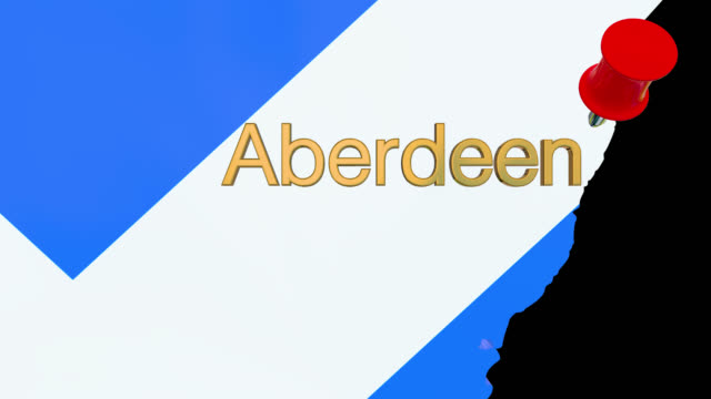 Karte von Schottland mit alpha-Kanal und 3D-Karte Pin markieren den Standort von Aberdeen