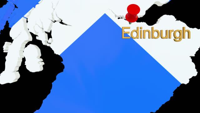 map of scotland with alpha channel and 3d map pin highlighting the location of edinburgh - scottish flag stock videos & royalty-free footage