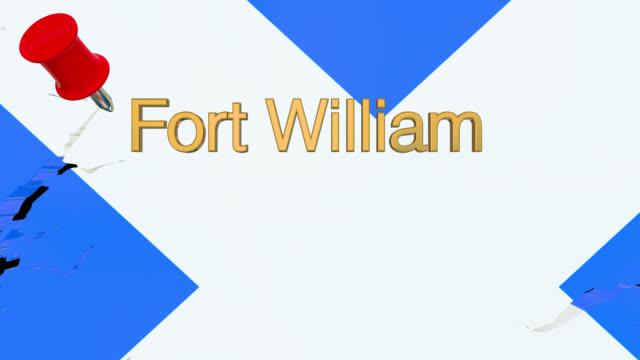 Karte von Schottland mit alpha-Kanal und 3D-Karte Pin markieren den Standort von Fort William